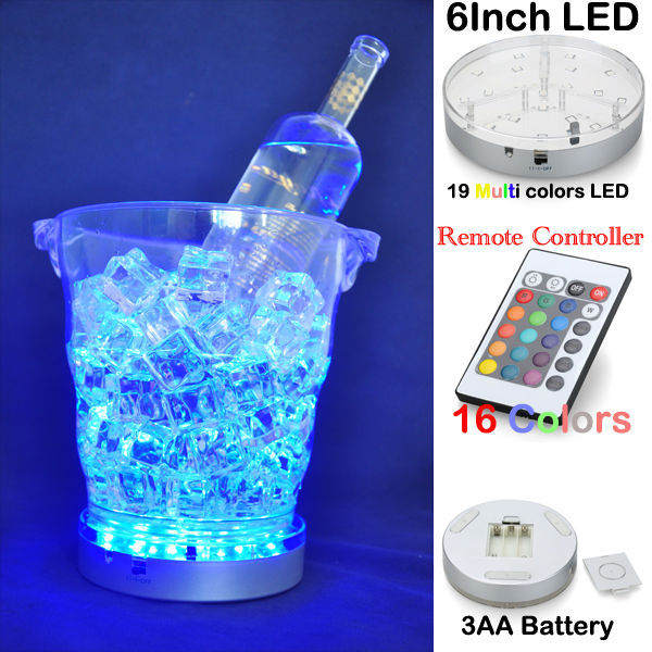 10pcs*Battery Powered 24keys Remote Multicolor 6inch Led Light Base For Floral Arrangements Table Vase Home Wedding Party Decor