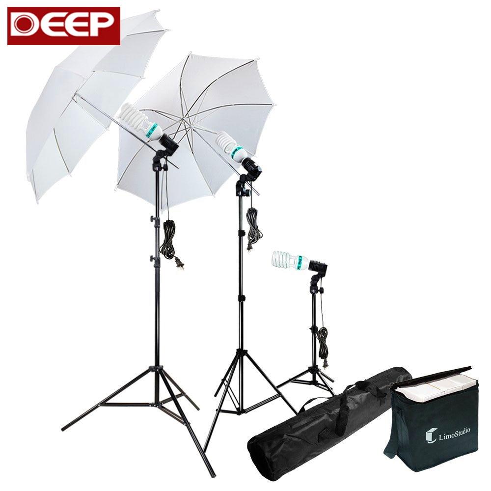 все цены на DHL FREE Photography Photo Studio Set Soft Umbrella Single socket Light Holder Light Stand 3pcs E27 175W bulb Adaptor EU US Plug онлайн