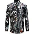 2017 Nuevos Pájaros de Bambú de Impresión Camisas de Los Hombres de Moda Casual Diseñador de la Marca Camisa Masculina T0158