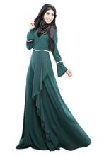 2016 Tasarım Müslüman Hanım Kaftan Abaya İslam Elbise O-Boyun Uzun Kollu İmparatorluğu Bel Şifon Kat Uzunluk Hanım Başörtüsü Giyim