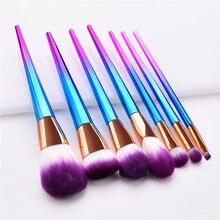 7pcs Rainbow Handle Makeup Brushes Set for Foundation Powder Blush EyeShadow Lip Brush Beauty Make up brushes Tools T07061 7pcs set makeup brushes set for cosmetic foundation powder foundation eyeshadow make up brush beauty tool