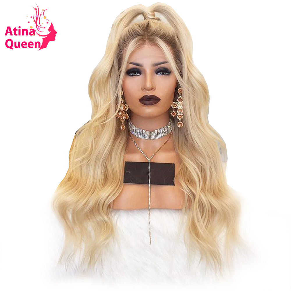 150 Density Dark Roots 613 Blonde Lace Front Human Hair Wigs Pre Plucked Hairline Remy Ombre