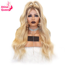 150 Density Dark Roots 613 Blonde Lace Front Human Hair Wigs Pre Plucked Hairline Remy Ombre Lace Wig With Baby Hair Atina Queen(China)