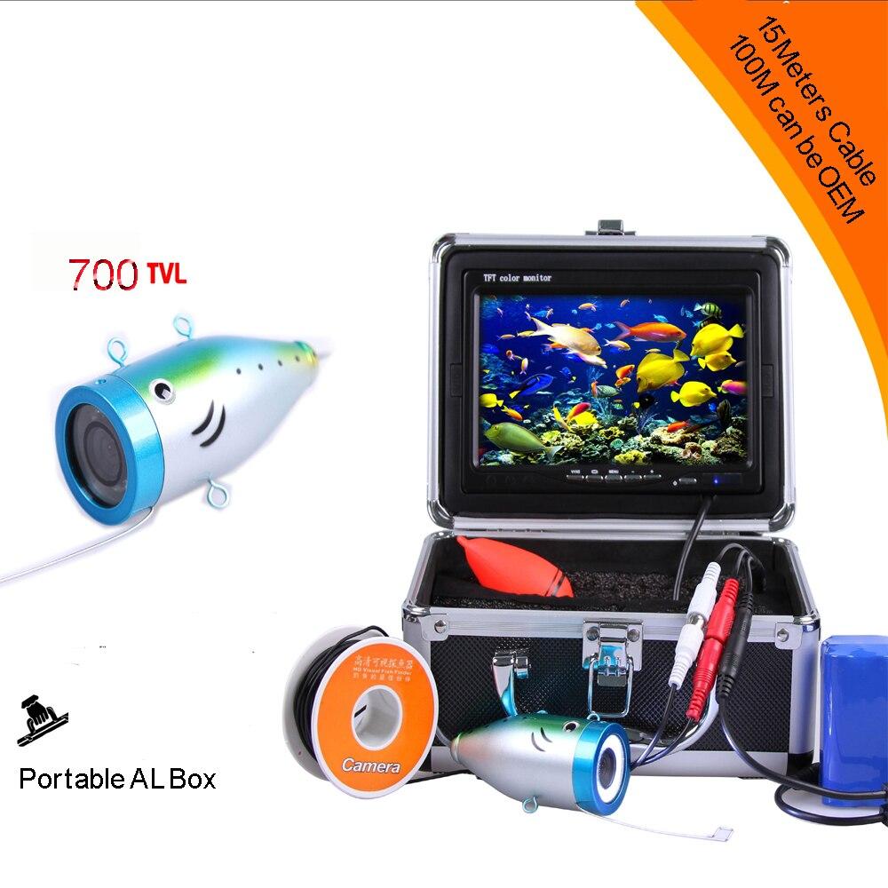 Câble de profondeur de 15 mètres de Super Mini caméra sous-marine 700TVL avec LED blanche 8 pièces et moniteur LCD numérique 3.5