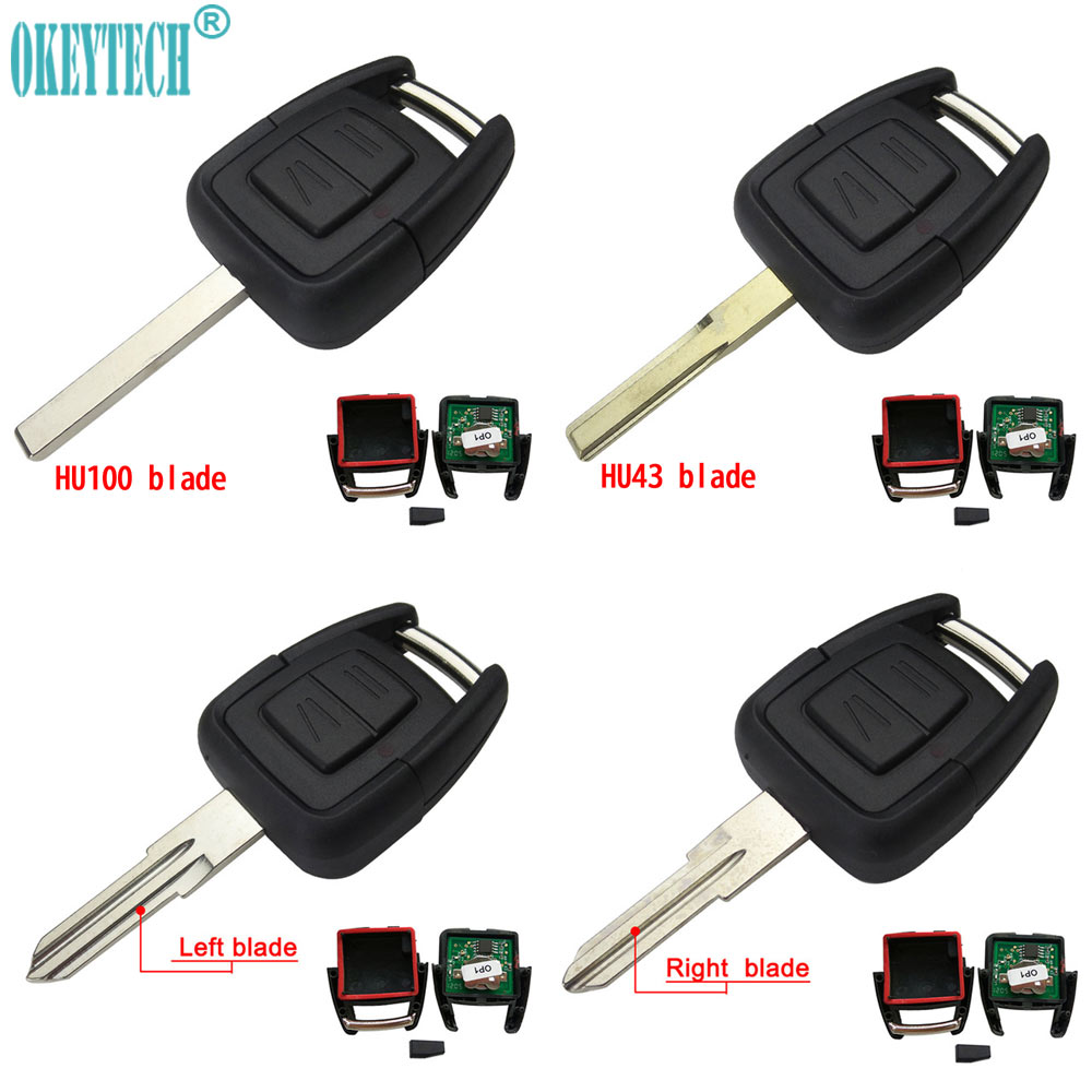 OkeyTech 2 Button Remote car Key FOB ID40 Chip For Vauxhall Opel Astra h j Vectra Zafira OP1 auto Omega 433MHz Uncut HU100 Blade