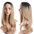 Synthetic Wigs for Black Women Long wave Synthetic Wigs Blonde Ombre Hair Fashion Synthetic Natural Hair Wig 100% Heat Resistant