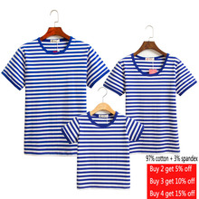 Cute Family Matching Clothing Striped T-Shirt Mom Kids Costume Mother Daughter Baby Girl Boy Clothes