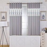 シングルパネルグレー短い寝室カーテンキッチンヨーロッパスタイルルーム子供装飾タワー柄プリントカーテン用子