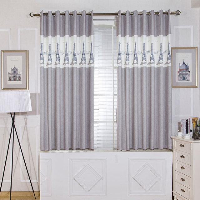 Panneaux simples gris court chambre rideaux cuisine Europe Style chambre  enfants décoration tour motif imprimé rideaux pour enfants