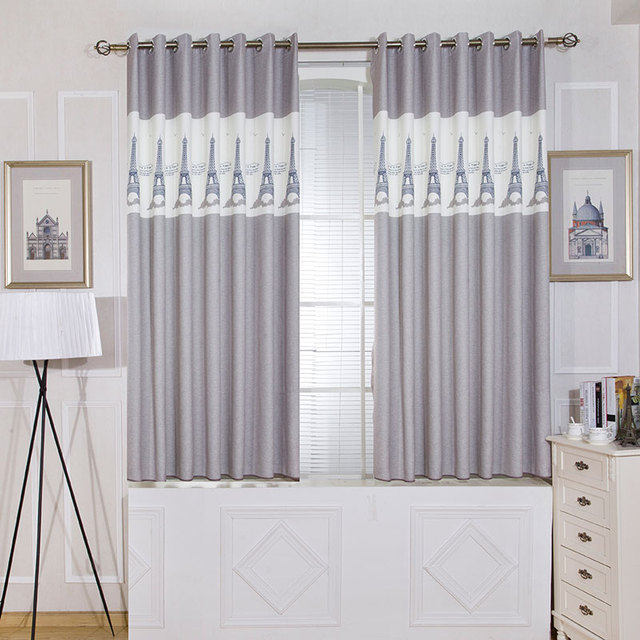 Single Panels Gray Short Bedroom Curtains Kitchen Europe Style Room Kids Decoration Tower Pattern Printed