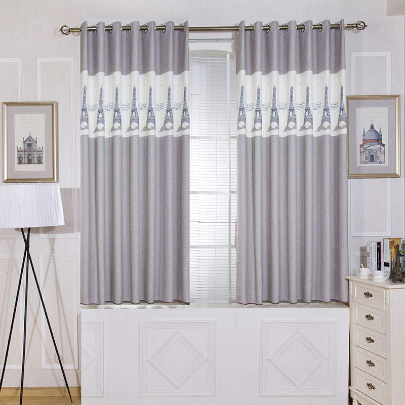 Single Panels Gray Short Bedroom Curtains Kitchen Europe Style Room Kids  Decoration Tower Pattern Printed Curtains
