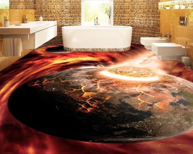 3d Fußboden Aufkleber ~ Moderne d bodenfliesen benutzerdefinierte cool d boden aufkleber
