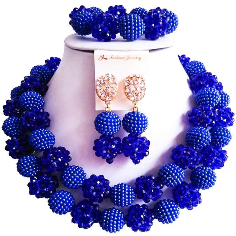 על מכירת רויאל כחול כסף צבע קריסטל ניגרי נשים חתונה חרוזים תכשיטי סטי 2C-ZZSJ-46