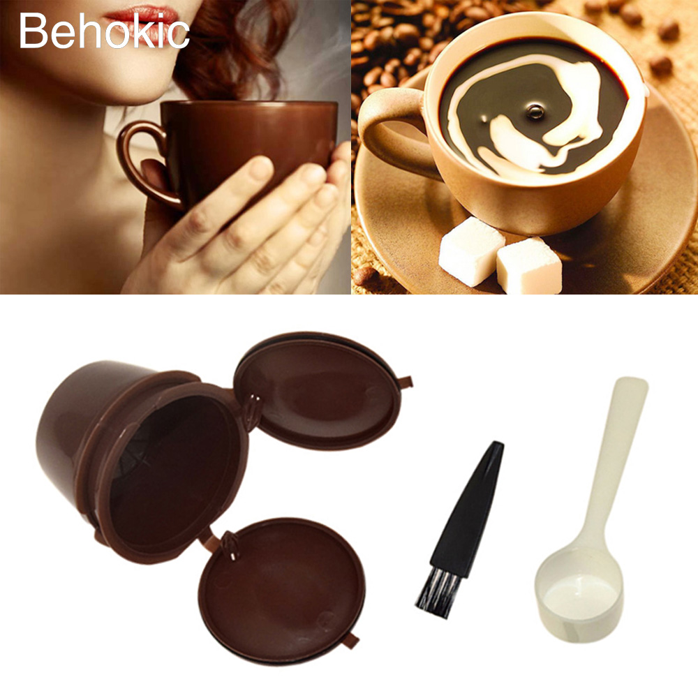 Behokic 4 in 1 Coffee Filter dolce gusto reusable capsules capsule Cup Spoon Brush Set Nescafe Mini Me Piccolo Genio Esperta