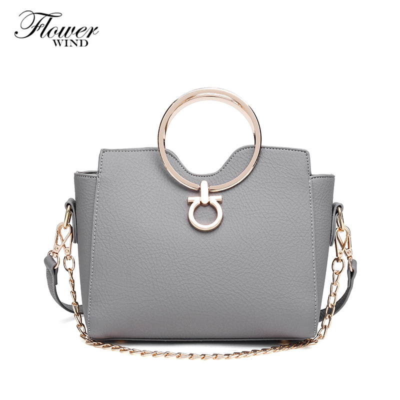 2017 New Fashion Small Chain Women Messenger Bag Autumn and Winter New PU Leather Female Bag Metal Circle Handle Flap Bag