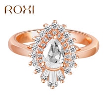 ROXI Wedding Ring Sparkling Perfect Oval Cut Zircon Stone Rings for Women Female Party Jewelry Rose Gold anillos mujer Dropship(China)