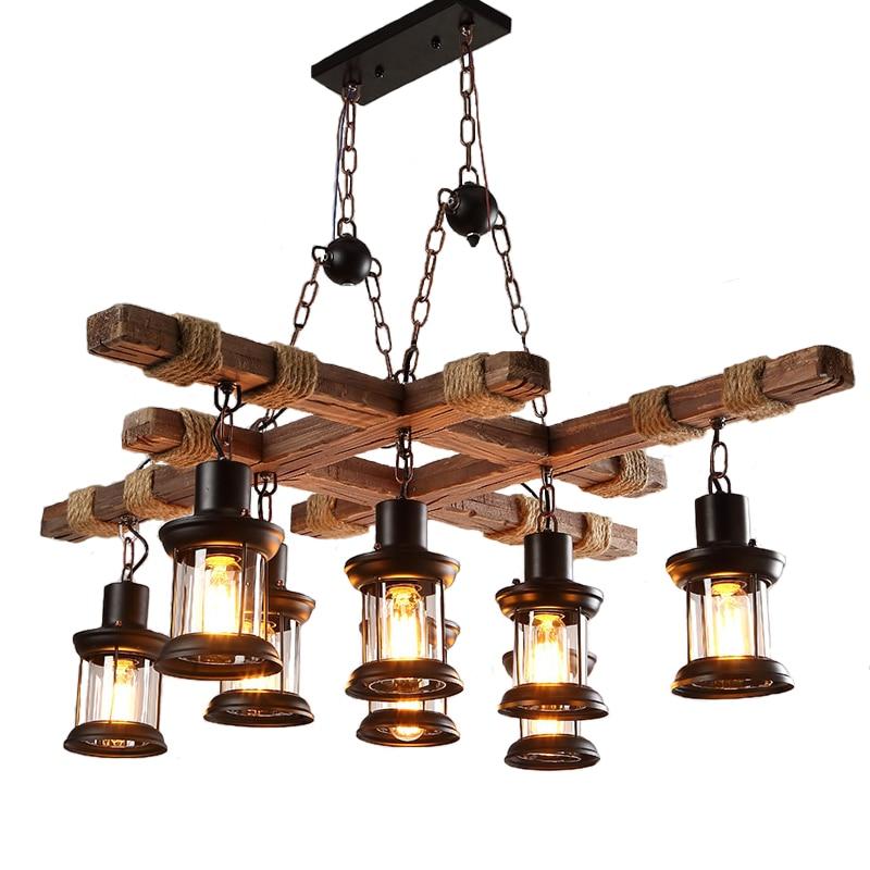 Wooden chandelier loft living room restaurant bar retro industrial wind creative chandelier пуф wooden круглый белый