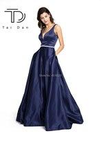 Купить с кэшбэком A-line Deep V-neck Sleeveless Satin Formal Evening Long Prom Evening Dress Open Back Shining Stone Belt Girl Dress Party Gown