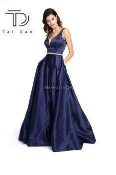 A-line Prom Dress Deep V-neck Sleeveless Satin Formal Evening Long Open Back Shining Stone Belt Girl Party Gown