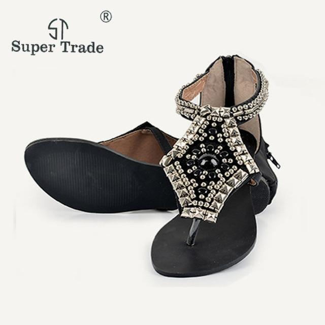 ec9c288fc 2018 Rhinestone Women Sandals Clip Features National Wind Shoes Hollow  Zipper Roman Style Flat Sandals Fashion Casual Sandals