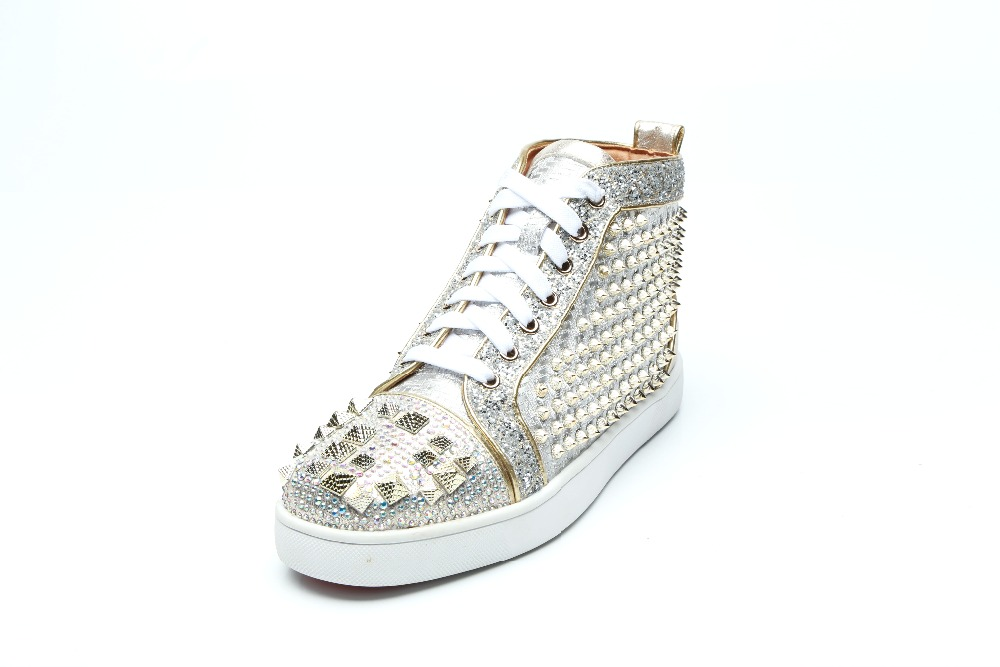 forme Femme Luxe De Chaussures Top Lace Plate Mode Tissu Show As High up Pointes Plat Sneakers Rivets Casual Paillettes Brillant Respirant cFK1lJ