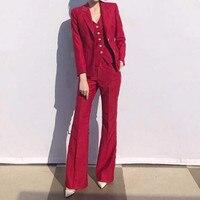 Пользовательские Моды Новый горячий красный тонкий женский костюм из двух Костюм из нескольких предметов (куртка + Штаны) женские деловые д