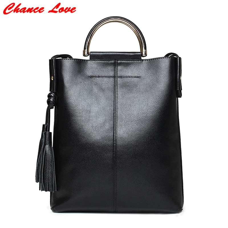 ФОТО Chance Love Women Bag Fashion European and American Style Tassel Ladies Handbag High Quality Solid Ladies Zipper Shoulder Bag