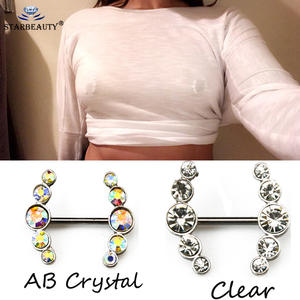 Nipple Piercing Shields Crystal Clear Sexy Colorful Women 2pcs for Love-Dangle