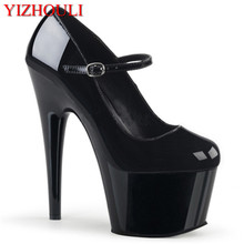 High-heeled women 2018 new 15cm single shoes, thick sole waterproof platform dinner dress shoes night pole dance Pumps sorbern fashion mary janes women pumps black shiny high heels chunky heeled platform shoes night party shoes pole dance shoes