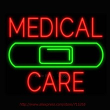 Medical Care Band Neon Signs For Home Neon Bulbs Real Glass Beer Neon Handcrafted Advertise Bulb Neon Light Pub Bar Signs 18x18(China)