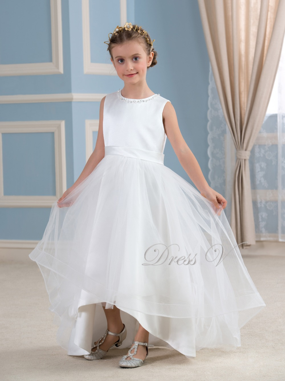 b9062de44c3f3 White Puffy Tulle Flower Girl Dresses High Low Sequins Children First  Communion Dress Girls Pageant Kids Wedding Party Gowns