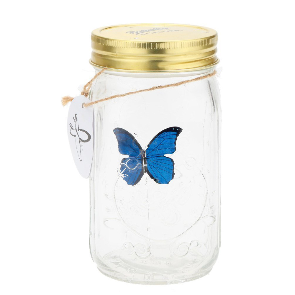 Novelty Light Butterfly Jar With Lamp Romantic Glass LED Lamp Butterfly In A Jar Valentine Children Gift Home Decoration Q