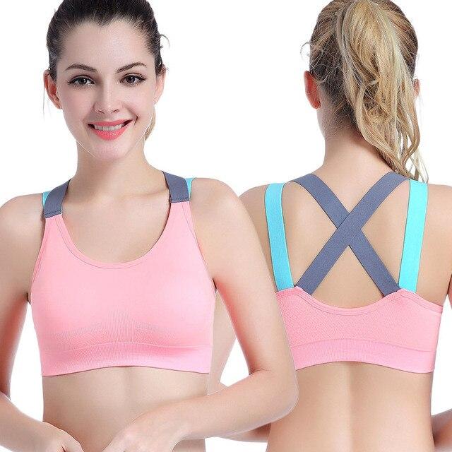 fd5deff175e8c 2017 Women Yoga Bras Push Up Sports Bra Stretch-Fabrics Cross Baldric Gym  Running Padded Bras Athletic Vest Sportswear Underwear