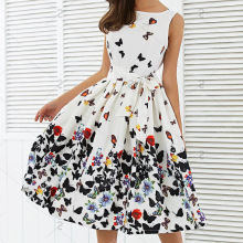 New 2017 Women Fashion Butterfly Floral Vintage Pleat Swing Dresses Summer Sleeveless Zipper Sashes Dress Retro Party Dresses(China)