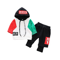 2019 Toddler boys clothes children outfits 1 2 3 year old baby cotton hooded patchwork sweatershirt fake two pants kid clothes
