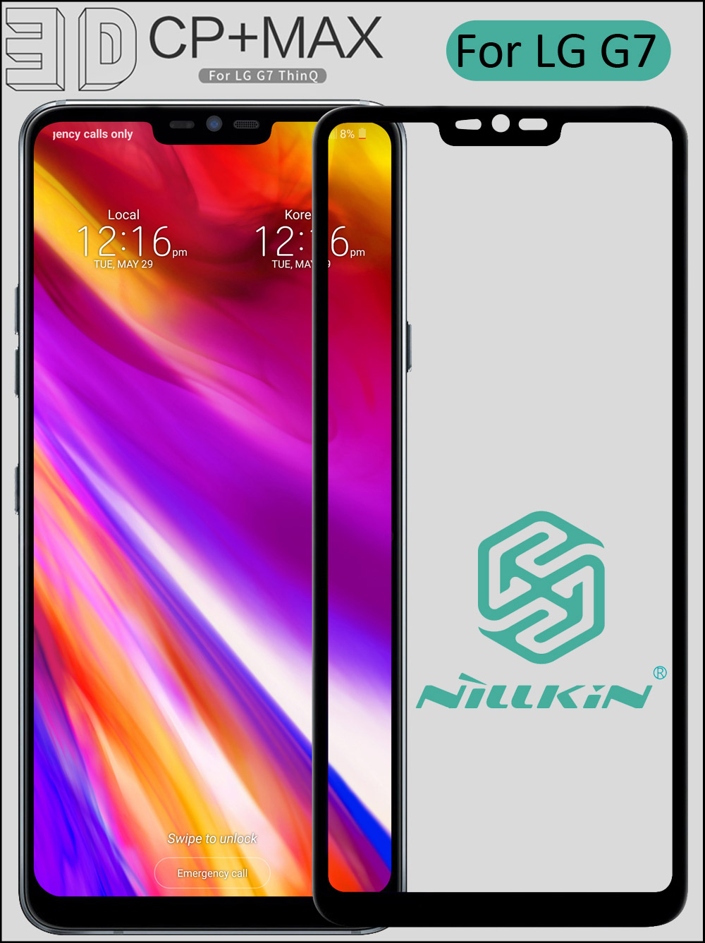 Nillkin 3D CP+ Max Tempered Glass For LG G7 ThinQ Full Screen Cover Curved Protective oleophobic