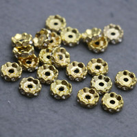 100PCS Wholesale Gold-Color circle Inlaid Rhinestone separate beads Metal Fittings for Accessory DIY Machining parts Design
