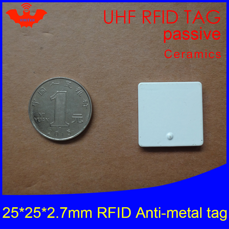 UHF RFID Anti-metal Tag 915mhz 868mhz Alien Higgs3 Pallet EPCC1G2 6C 25*25*2.7mm Square Ceramics Smart Card Passive RFID Tags