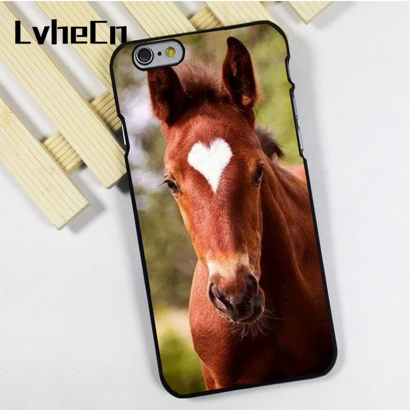 LvheCn phone case cover for iPhone 4 4s 5 5s 5c SE 6 6s 7 8 plus X ipod touch 4 5 6 Chesnut Horse Beautiful Heart Marking Colt