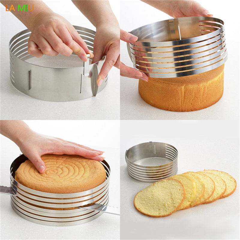 AICSRAD Stainless Steel Bread Cutter Slicer Adjustable Round Bread Cake Cutting Ring Mould Home Kitchen DIY Baking Decor Tools