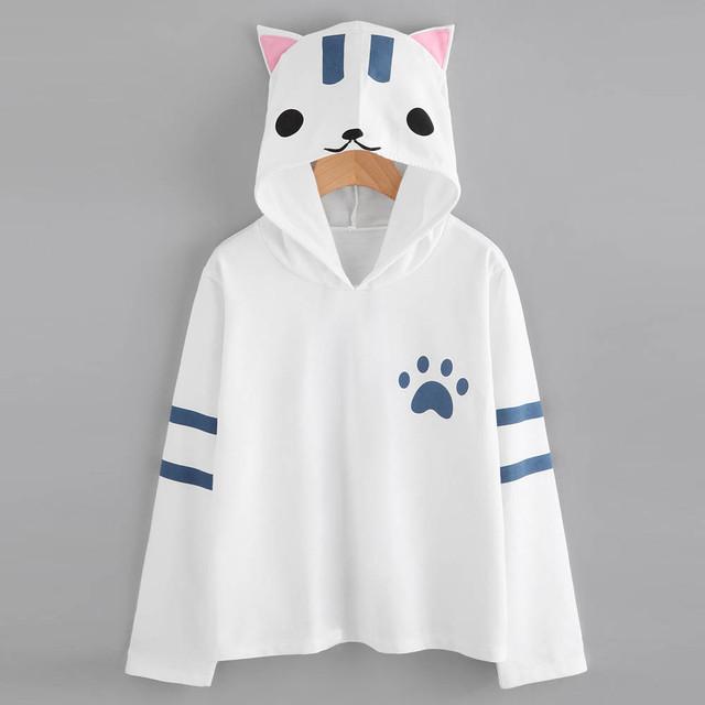 Fashion Anime Hoodie Sweatshirt Women Autumn Winter Lady Kawaii Cat Ear Oversized White Pullover Tops Girls Jumper Moletom #LH