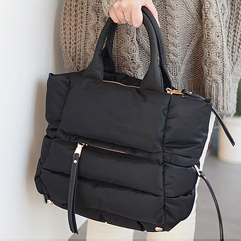 Winter Space Bale Handbag Woman Casual Space Cotton Totes Bag Down Feather Padded Lady Shoulder Crossbody Bag