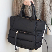 2018 New Winter Space Bale Handbag Woman Casual Cotton Totes Bag Down Feather Padded Lady Shoulder Crossbody