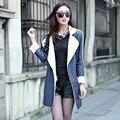 Зима женское кожа мех пальто овца шерсть корейский свободного покроя длинная пальто кожа куртка женщины Casaco Feminino