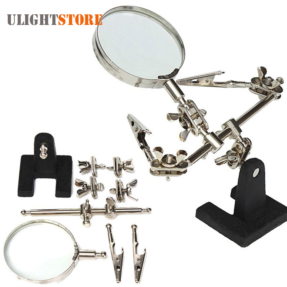 Auxiliary Clip Adjustable Glass Lens Desktop Magnifier Loupe For Circuit Board Inspection Welding Soldering Stand Repair Tools In Magnifiers From On