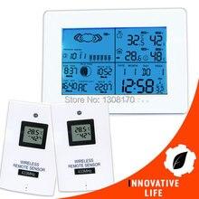 Цифровой Беспроводной Метеостанция Крытый Открытый Термометр Температуры Влажность ж/РСС Радиоуправляемые Часы + 2 Дистанционный Датчик