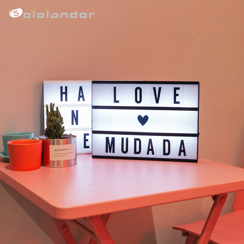 New A4 Size LED Combination Light Box With Letters DIY Cards Puzzle Night Lamp USB PORT Powered Cinema Lightbox Creative Lamps