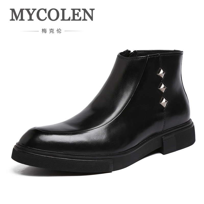 MYCOLEN Customized Brand Chelsea Boots Men Cow Leather Pointed Toe West Boots Fashion Retro Real Leather Handmade Shoes Men 2017 new men s retro leather breathable sneaker fashion boots men casual shoes handmade fashion