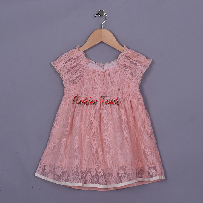 2016 Baby Frock Dresses Girls Princess Party Wear Korea Style Girl Pink Clothes Short Sleeve Kids GD50328-18^^FT - Fashion Touch store