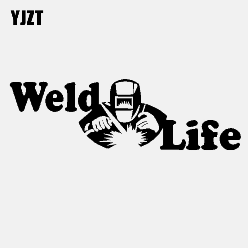 YJZT 17CM*5.2CM Fashion Reflective Weld Life Vinyl Car Window Sticker Decal Black Silver C11-1609
